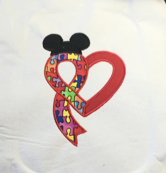 Autism Heart Applique for a Mickey Shirt