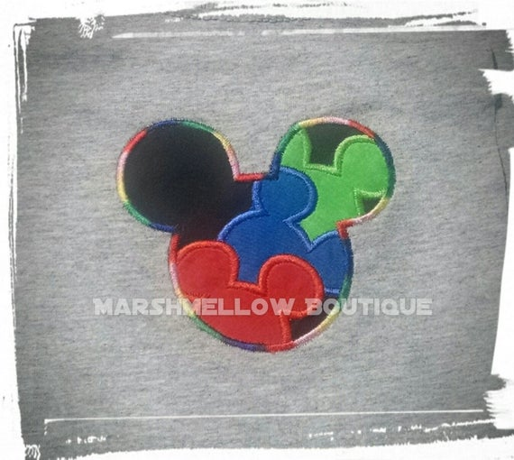 Colorful Autism Mouse Ears Grey T-shirt