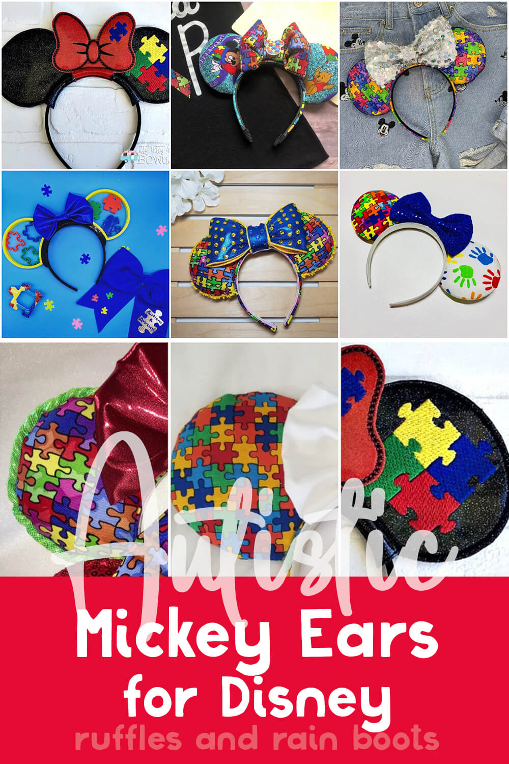 photo collage of autism mom mickey ears for disney with text which reads autistic mickey ears for disney