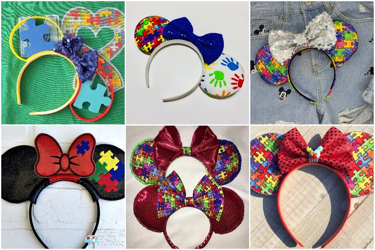 photo collage of disney mouse ears for autistic kids