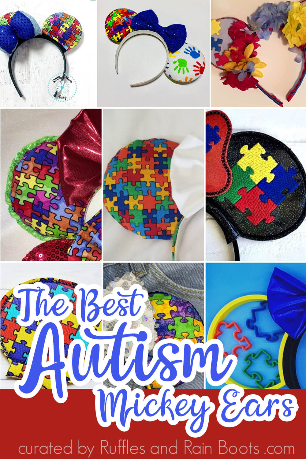 photo collage of minnie ears with puzzle pieces with text which reads the best autism mickey ears for kids