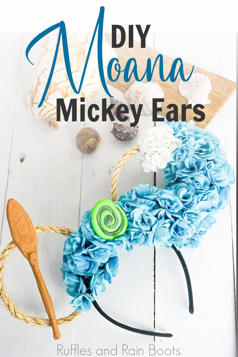 disney princess minnie ears for moana on a white wood background with shells with text which reads DIY Moana Mickey Ears