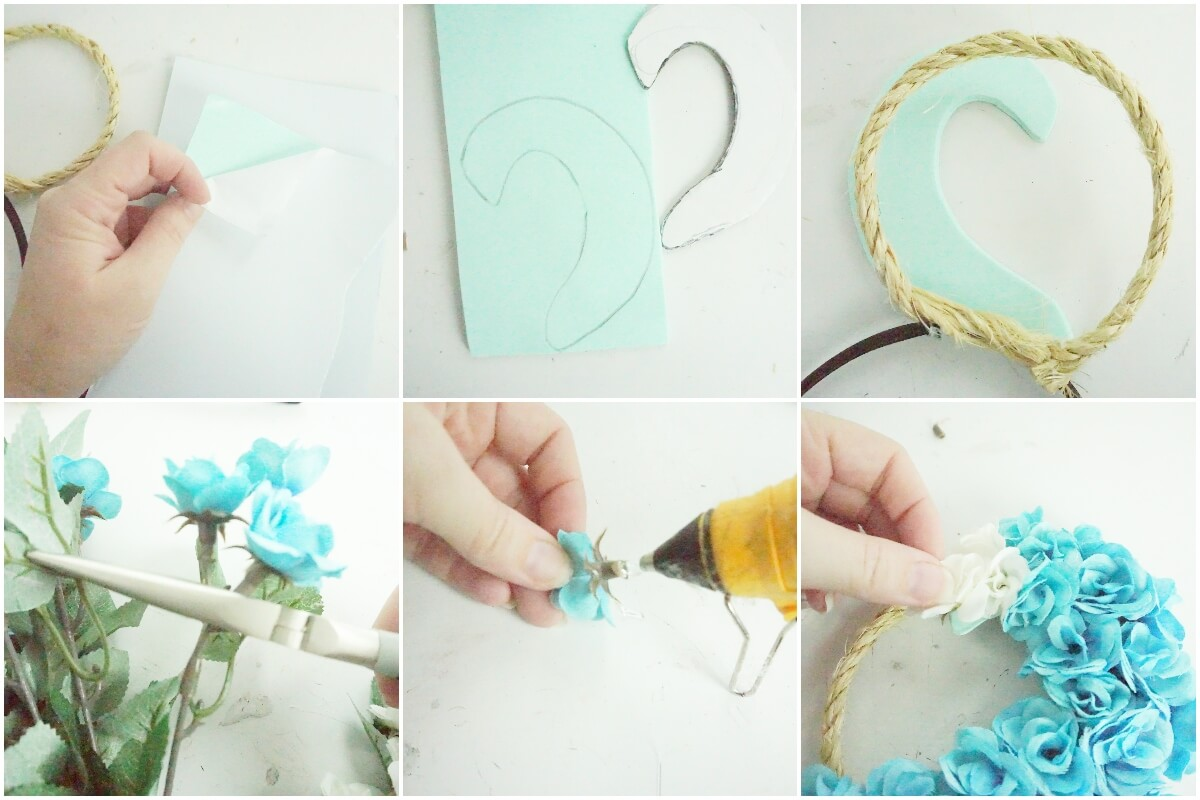 photo collage tutorial of how to make floral moana minnie ears