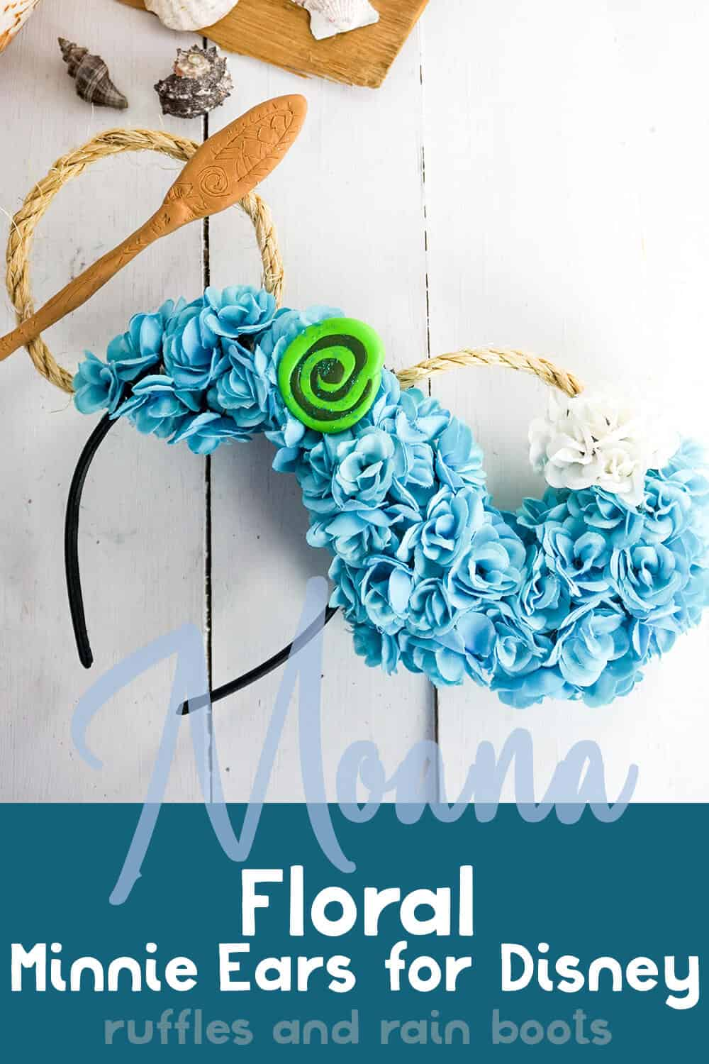 princesses of disney minnie ears on a white background with shells and driftwood with text which reads moana floral minnie ears for disney