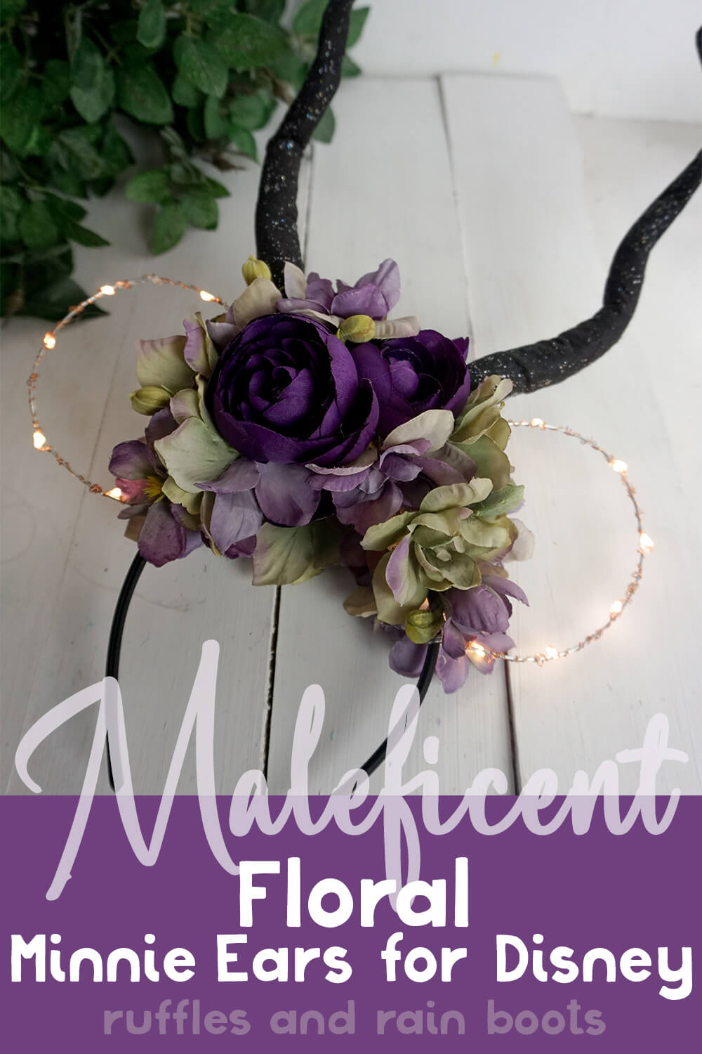 villain light-up mickey ears on a white wood background to represent make floral maleficent disney ears with text which reads maleficent floral minnie ears for disney