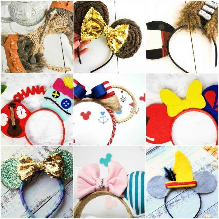 square collage of creative and unique DIY Mickey ears and Minnie ears for Disney vacation