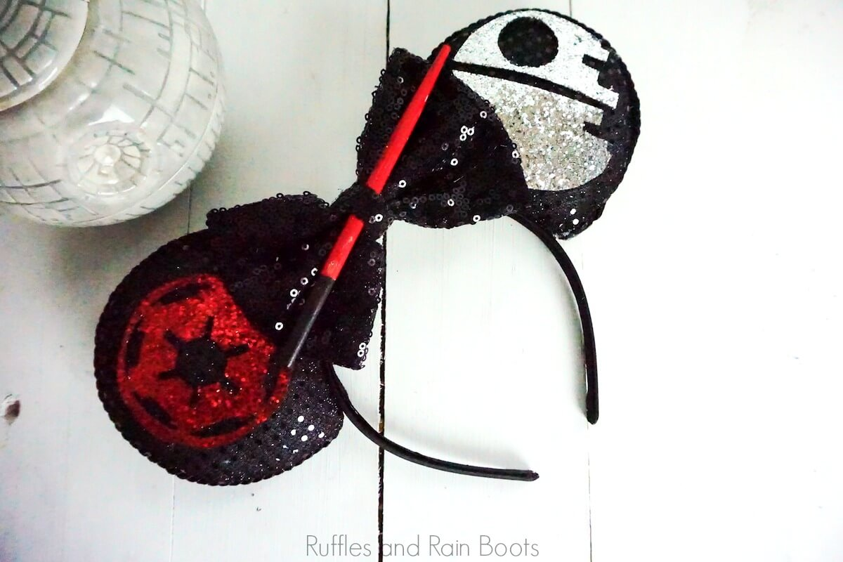bright and glittery Death Star Mickey ears Imperial Army ears Lightsaber Ears