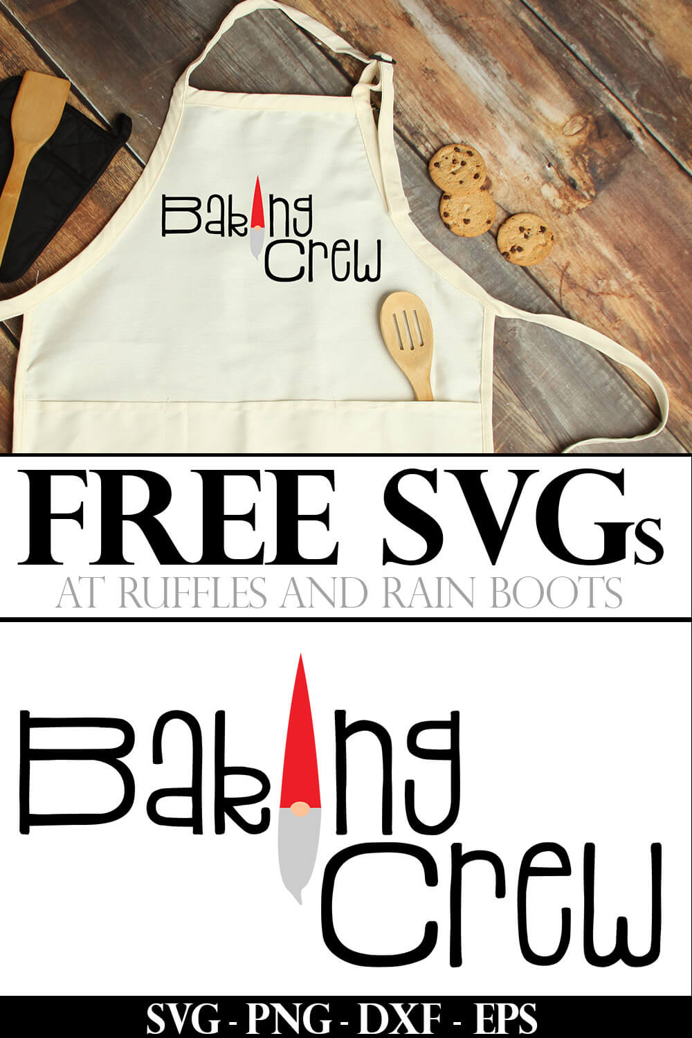 example of free svg for cricut baking crew used on an adorable kids holiday apron for christmas baking with text which reads free svgs