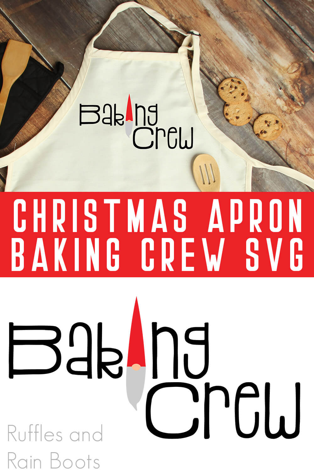 collage of free SVG for Cricut design placed onto a holiday apron with text which reads free christmas baking crew svg for apron