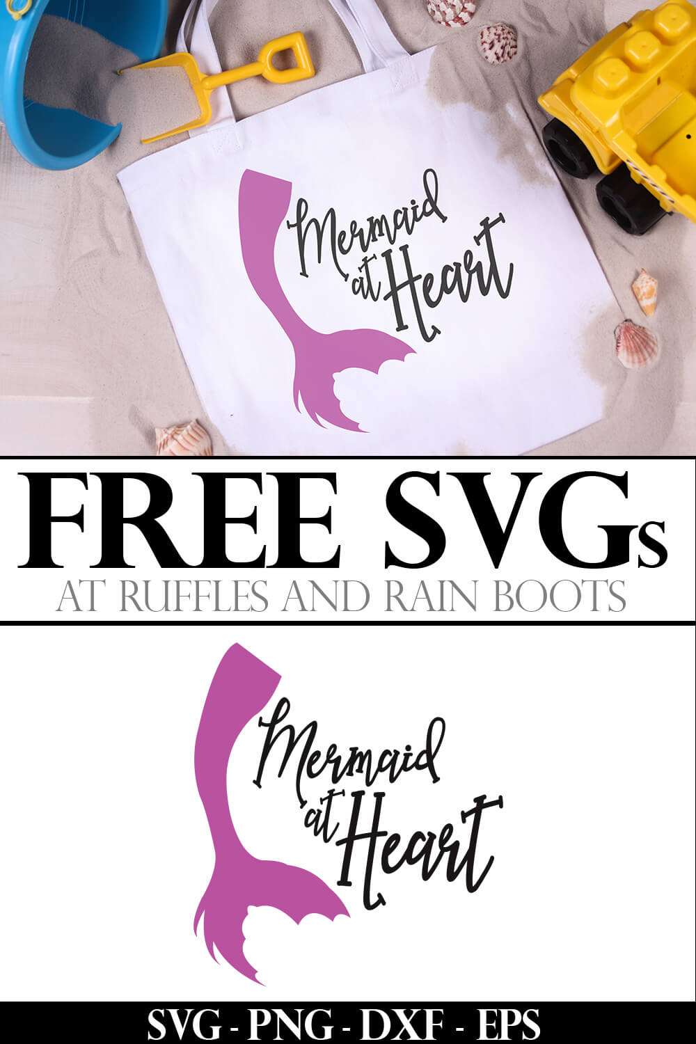 photo collage of mermaid at heart free mermaid cut file for silhouette with text which reads free svgs