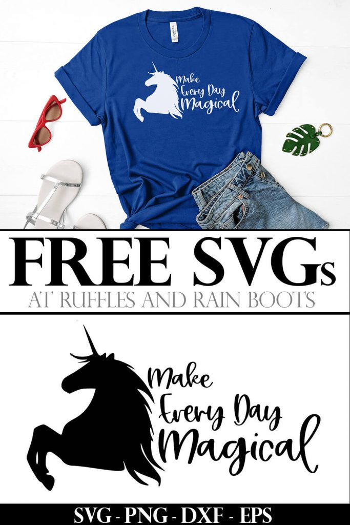 photo colage of make everyday magical free unicorn svg for cricut on t-shirt with text which reads free svgs