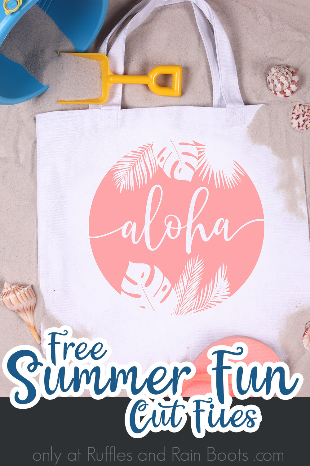 aloha free summer SVG for cutting machines on a beach bag on a bed of sand with text which reads free summer fun cut files