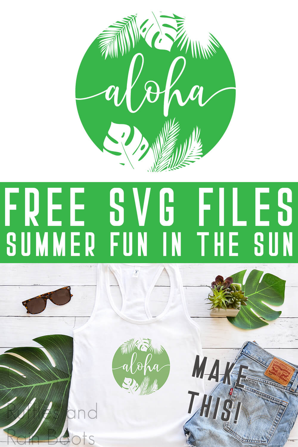 photo collage of aloha svg for summer on a tank top with text which reads free svg files summer fun in the sun