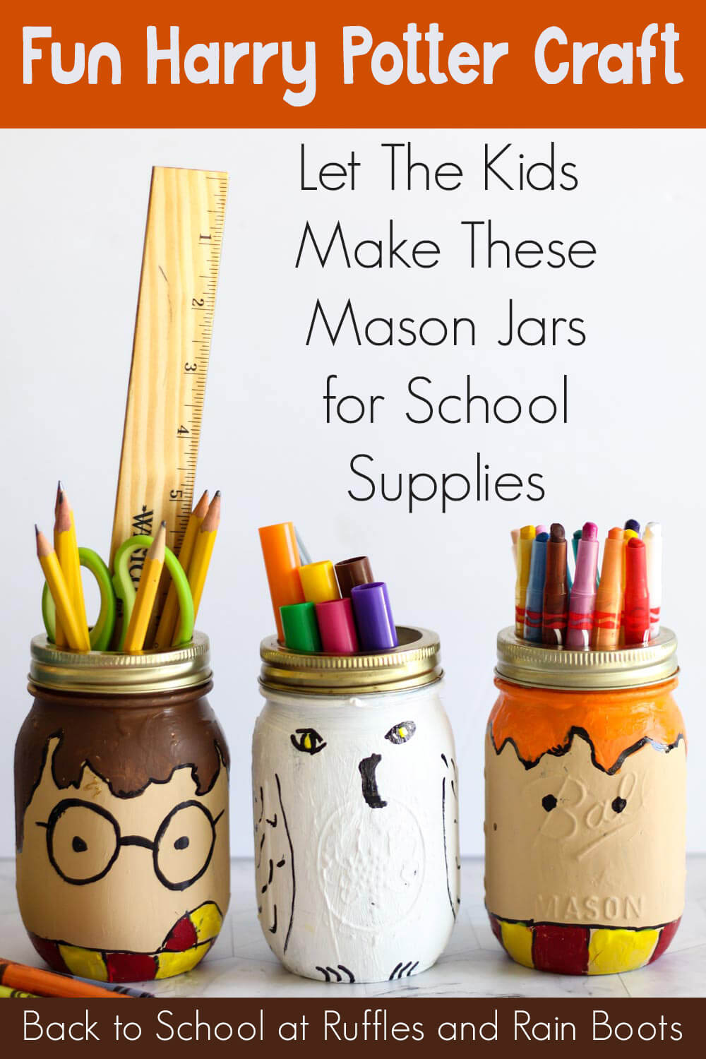 harry potter mason jar crafts idea for kids with text which reads fun harry potter craft let the kids make these mason jars for school supplies