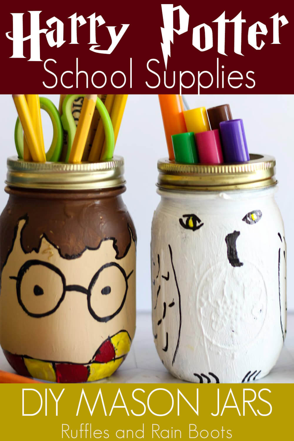 harry potter mason jar craft idea for school supplies with text which reads harry potter school supplies diy mason jars