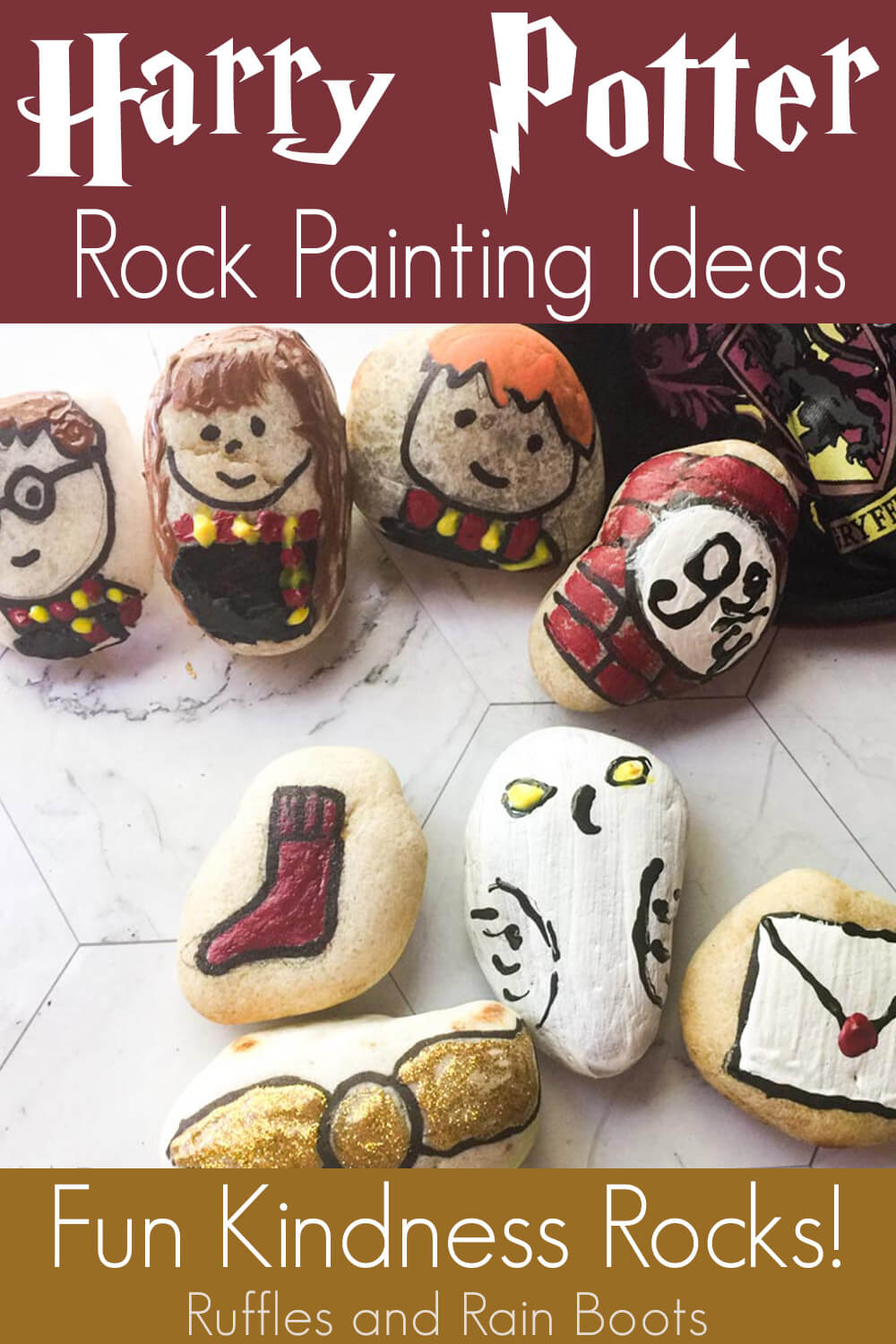 harry potter painted rock ideas on a white background with text which reads harry potter rock painting ideas fun kindness rocks!