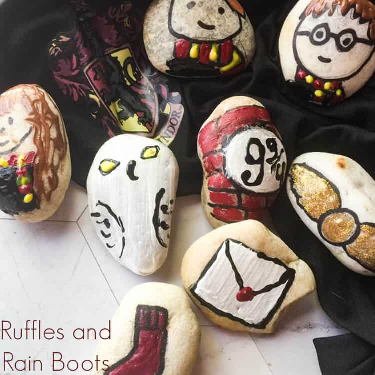 harry potter rock painting ideas on a white background