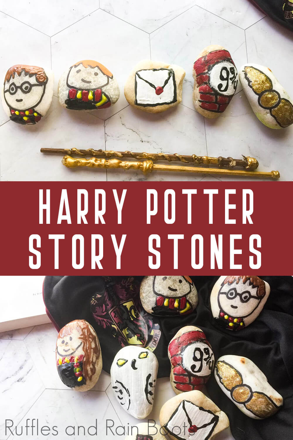 photo collage of harry potter kindness rocks for kids with text which reads harry potter story stones