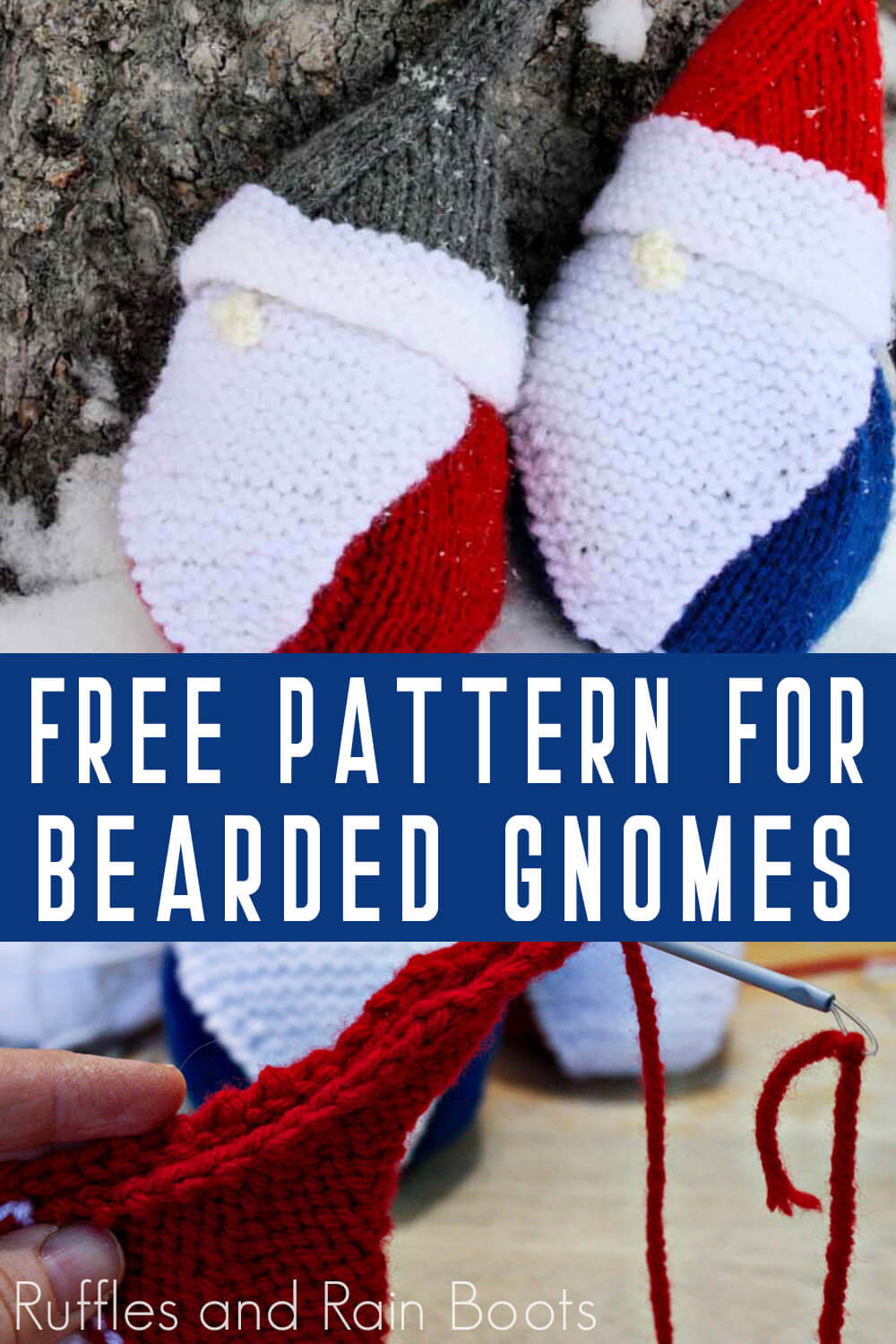 photo collage of Free Gnome Knitting Pattern for Christmas Gnomes with text which reads free pattern for bearded gnomes