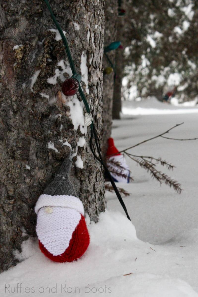How to Knit a Christmas Gnome on a snowy landscape