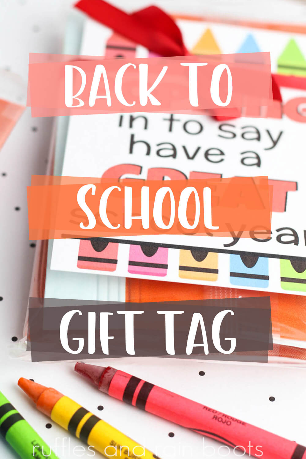 Back to School Popcorn Gift Tag Printable with text overlay which reads back to school gift tag