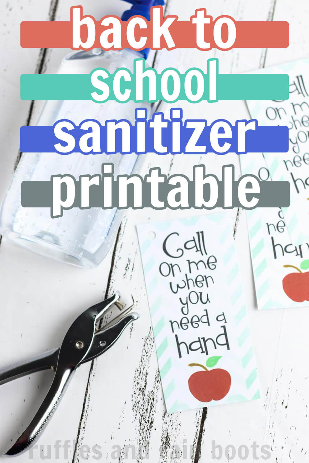 back to school hand sanitizer printable for teacher with text overlay which reads back to school sanitizer printable