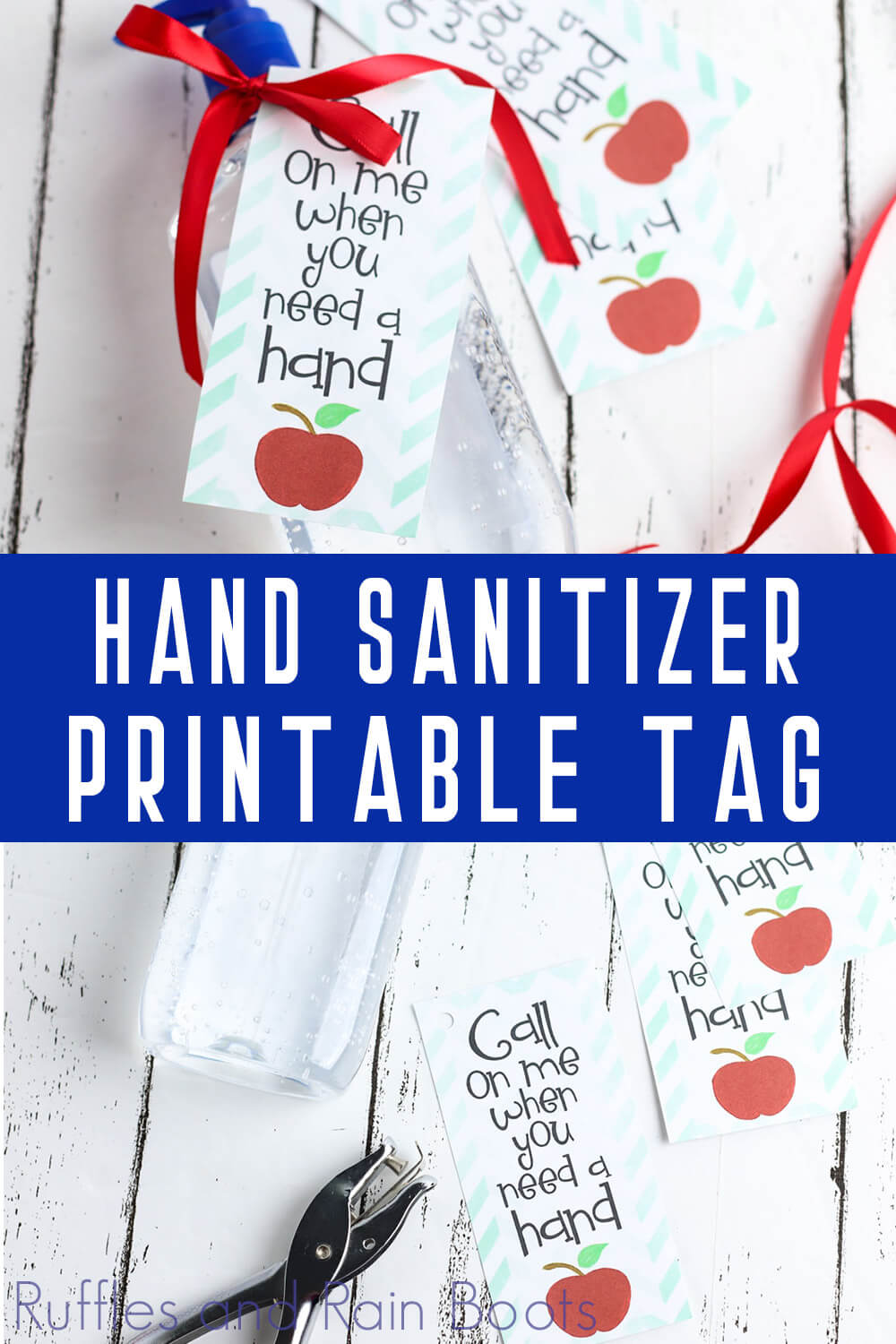 photo collage of Hand Sanitizer Printable Tag for Back to School gift for teacher with text which reads hand sanitizer printable tag
