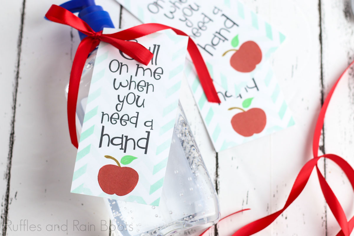 how to make a hand sanitizer for teacher gift step 3 Tie on tag with ribbon