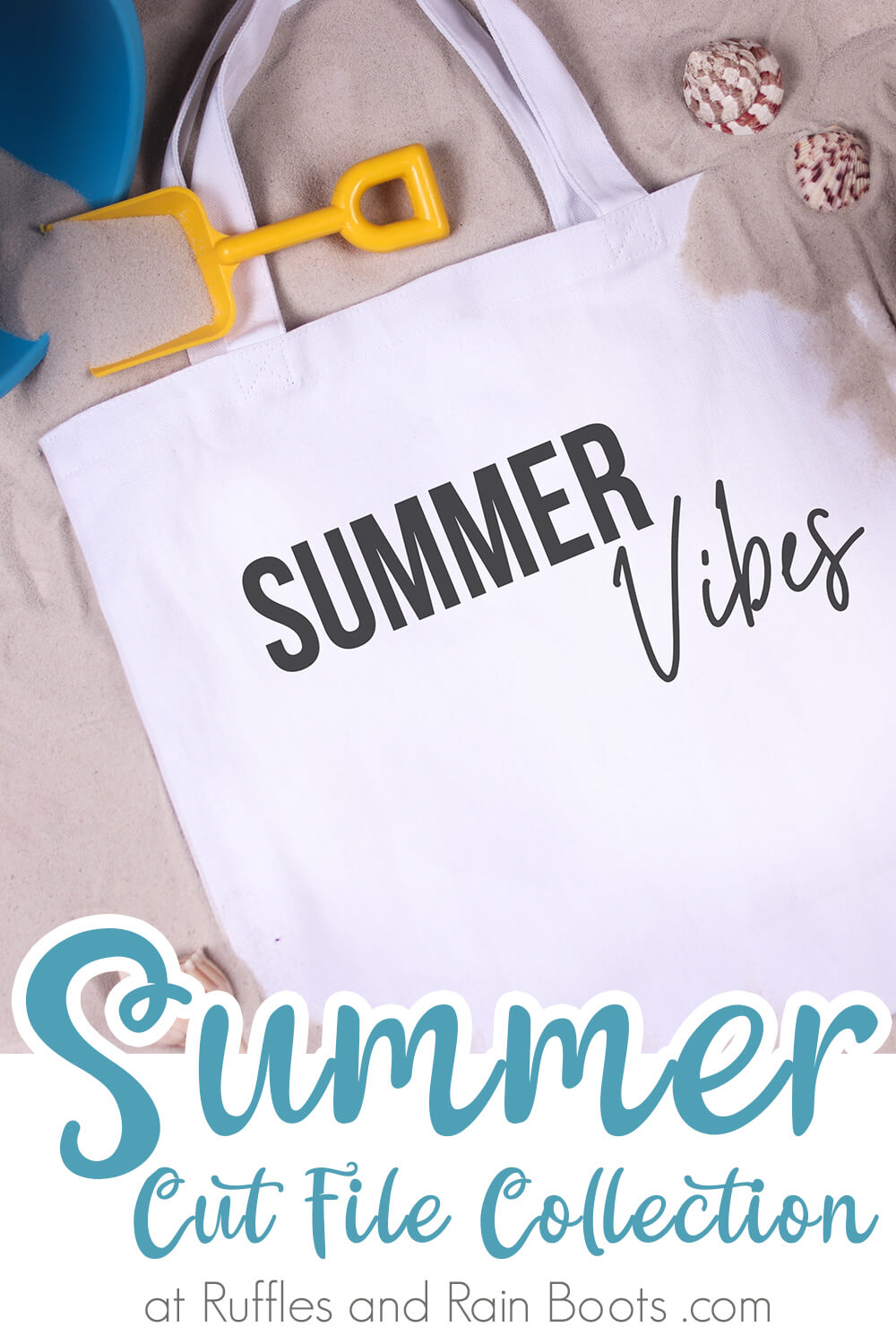 summer cricut cut file Summer Vibes SVG on beach bag with text which reads summer cut file collection