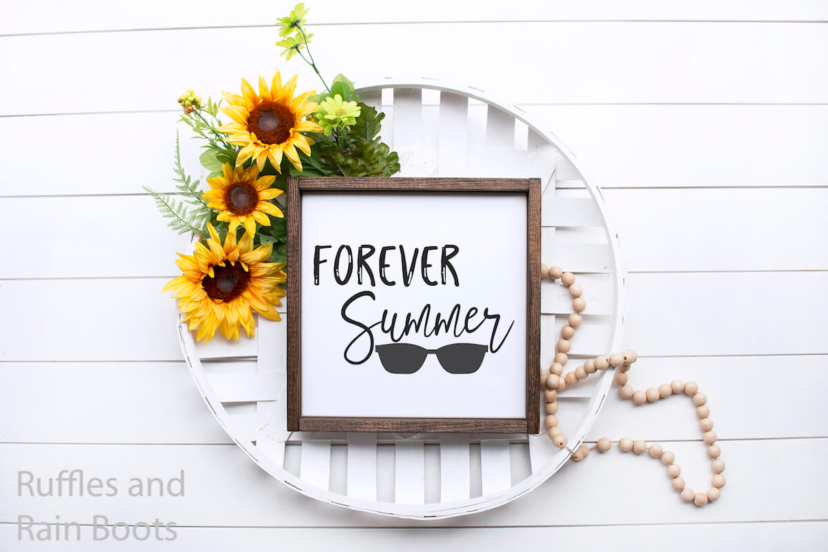 Forever Summer free summer cut file for Silhouette on Wall Sign with sunflowers and woven basket on a white background