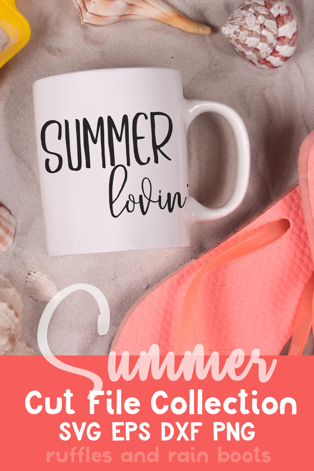 Summer Lovin' free summer svg for cut machines on a mug on sand next to flip flops with text which reads summer cut file collection svg eps dxf png