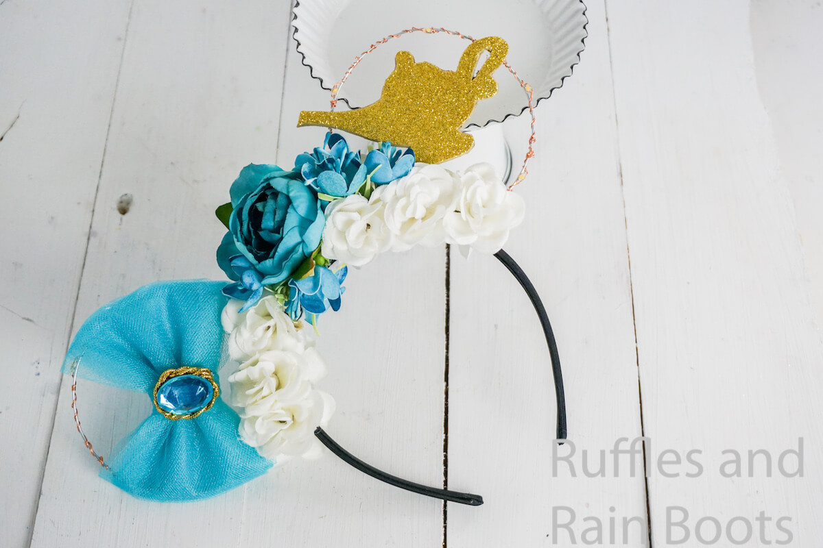 floral princess jasmine mickey ears with lights on a white background