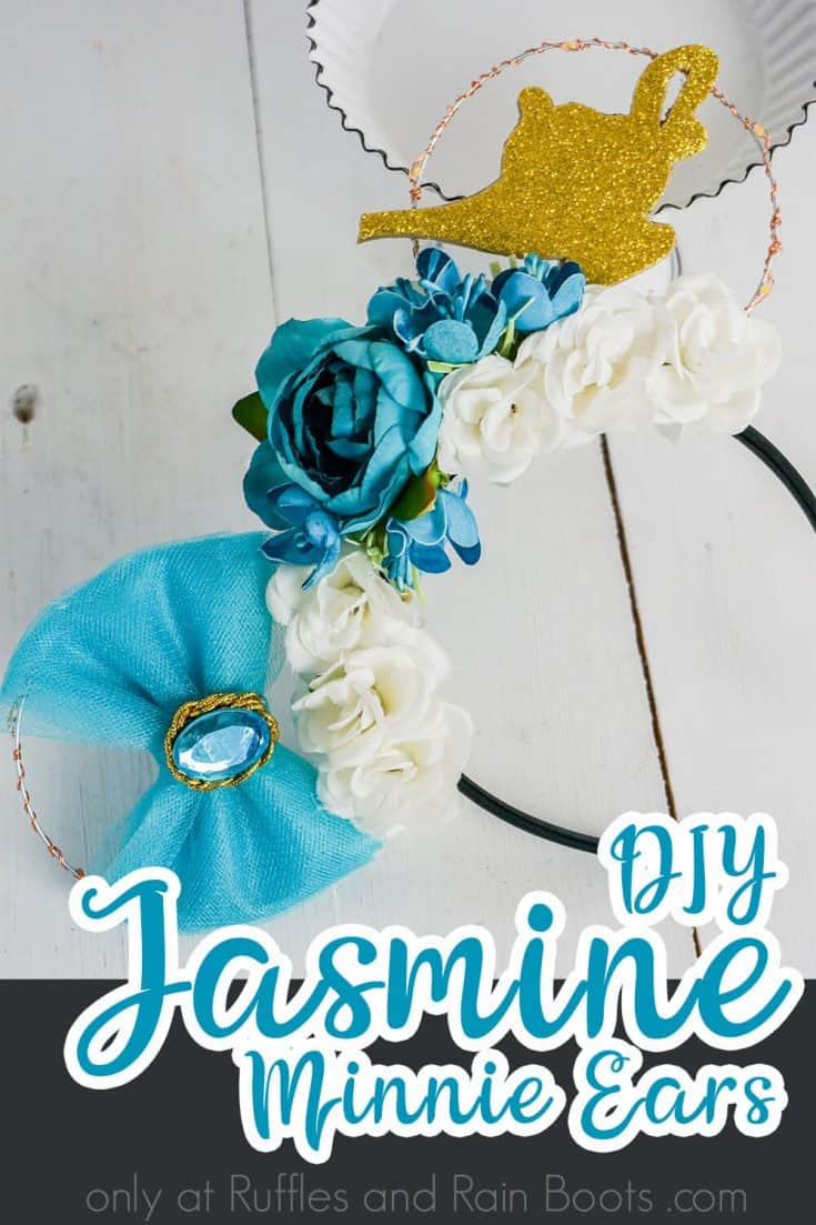 I have to make these DIY floral Princess Jasmine Minnie ears for Disney. They're gorgeous. Click here to get directions to make these beautiful Disney at night ears. #disneyatnightears #jasminemickeyears #jasmineminnieears #rufflesandrainboots