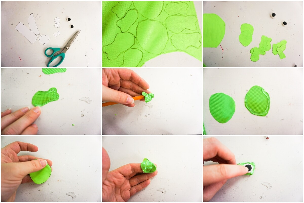photo collage of how to make no-sew rapunzel mickey ears for disney