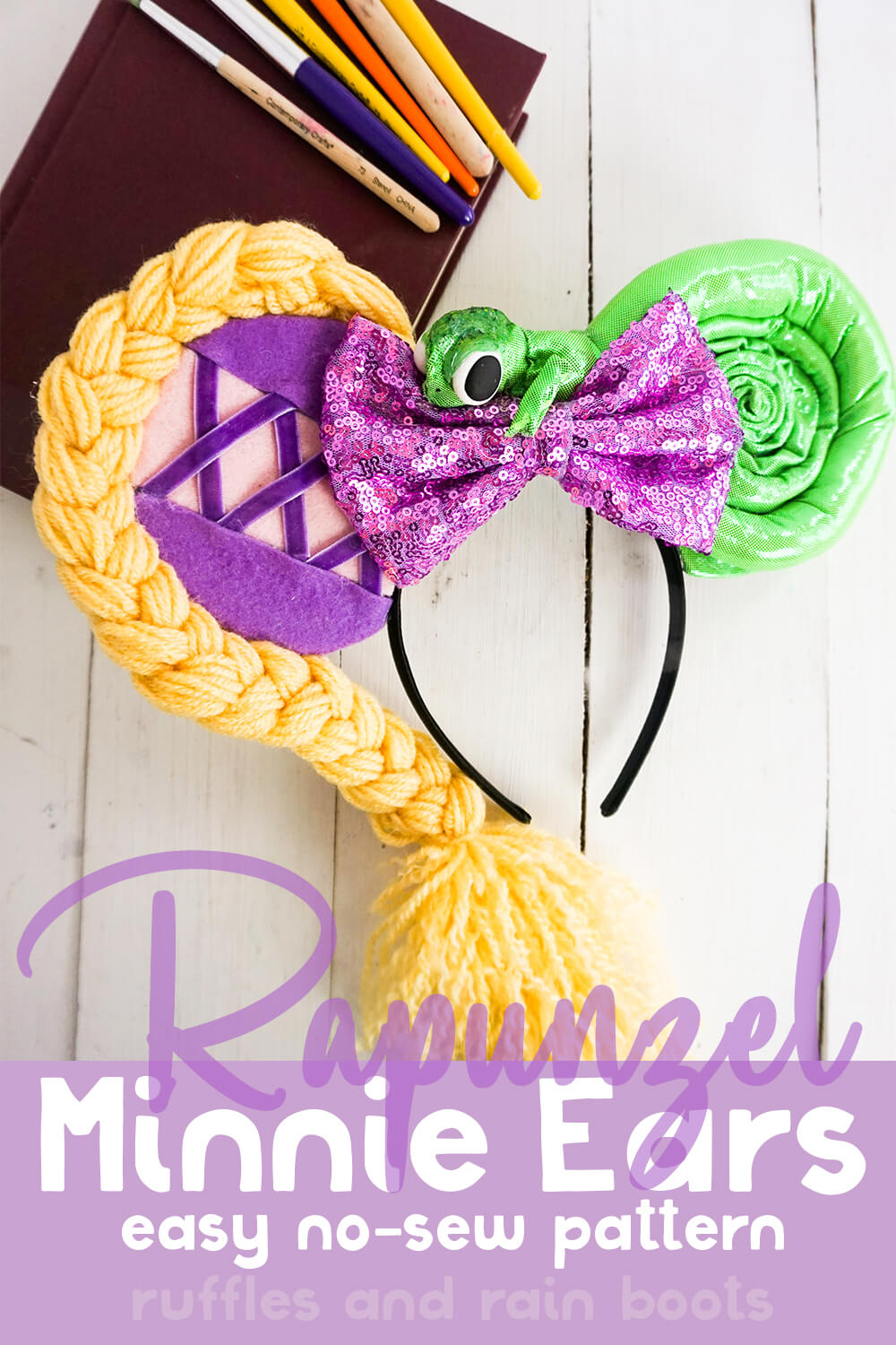 Tangled minnie ears on a white wood background with a box with text which reads rapunzel minnie ears easy no-sew pattern