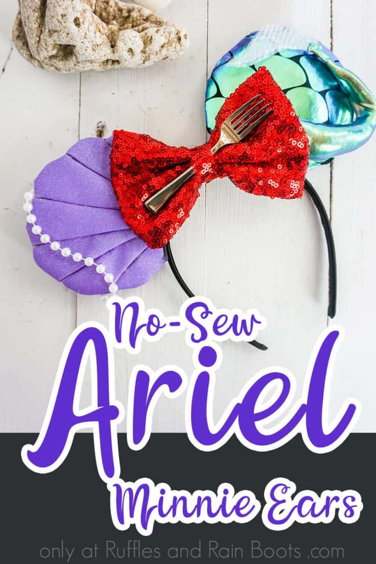I can't wait to make these simple no-sew Ariel Mickey ears for Disney! They're absolutely gorgeous--and easy. Click here to see how she makes these easy The Little Mermaid Mickey ears in minutes. #littlemermaidmickeyears #arielmickeyears #arielminnieears #memaidmickeyears #rufflesandrainboots