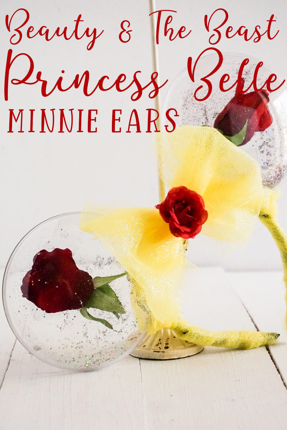 beauty and the beast mickey ears for disney with text which reads princess belle minnie ears