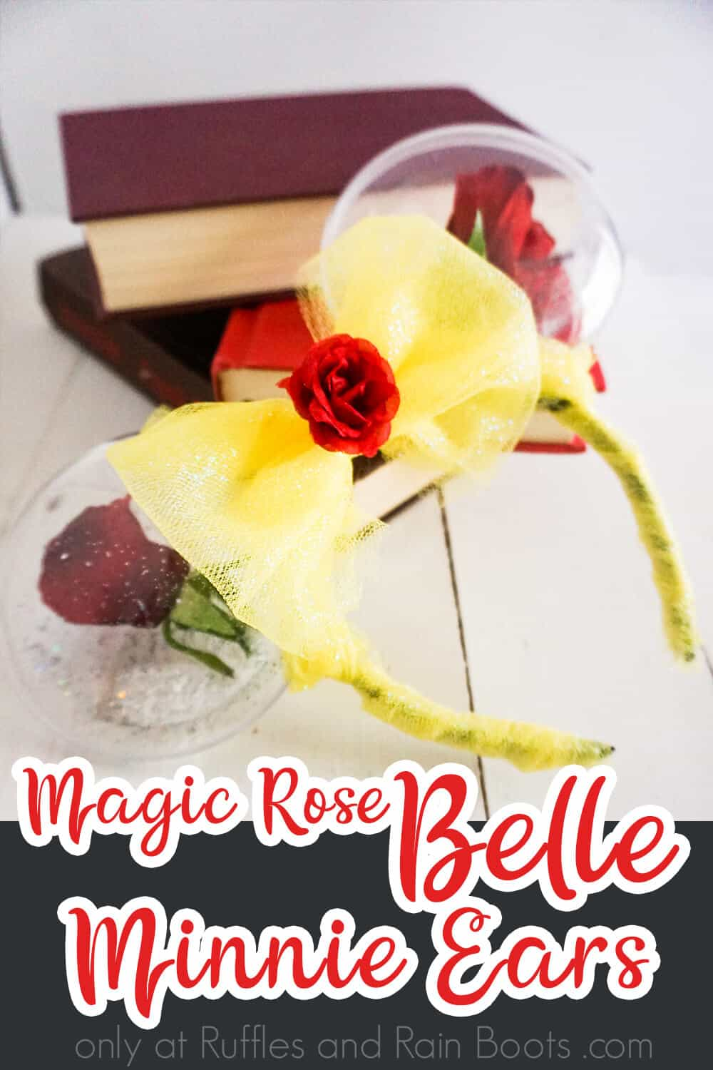beauty and the beast mickey ears for disney with text which reads magic rose belle mouse ears