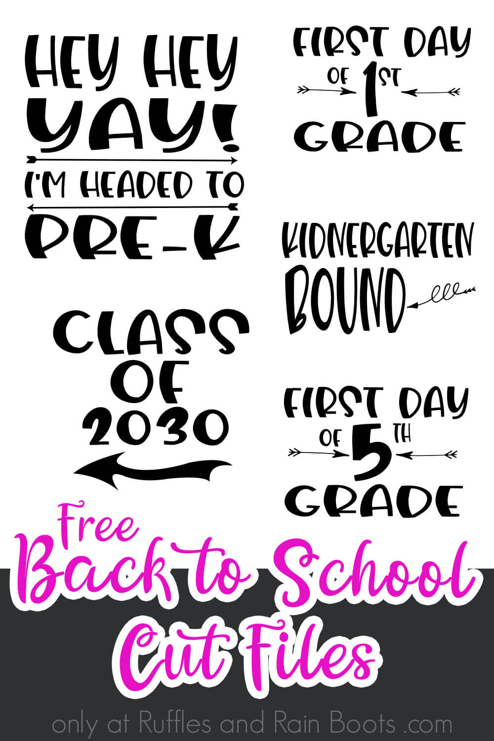 collage of various free back to school svg collection items with text which reads free back to school cut files