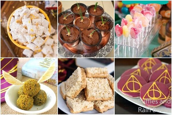 photo collage of harry potter snacks for a wizarding world party