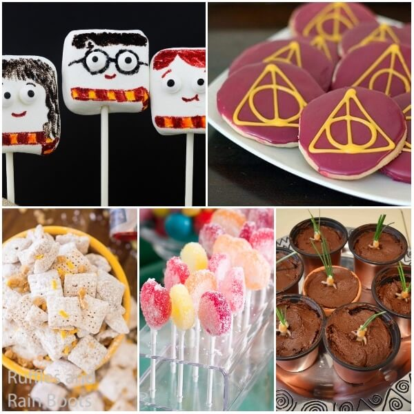 photo collage of harry potter snacks for fans