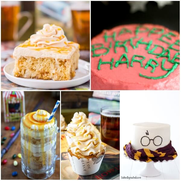 photo collage of how to make a harry potter cake or harry potter cupcake