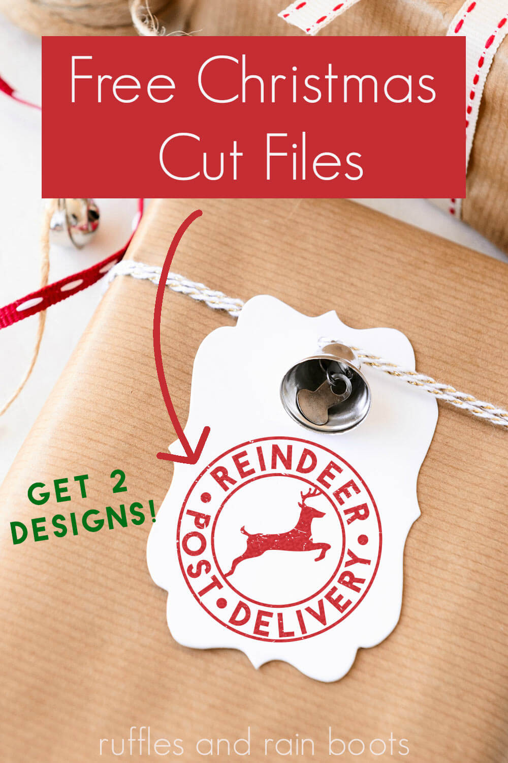 easy Cricut gift tag made with Reindeer Post Delivery SVG with text which reads free Christmas cut files in 2 designs