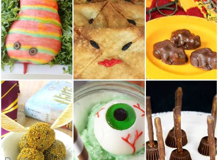 photo collage of harry potter food ideas for a halloween party