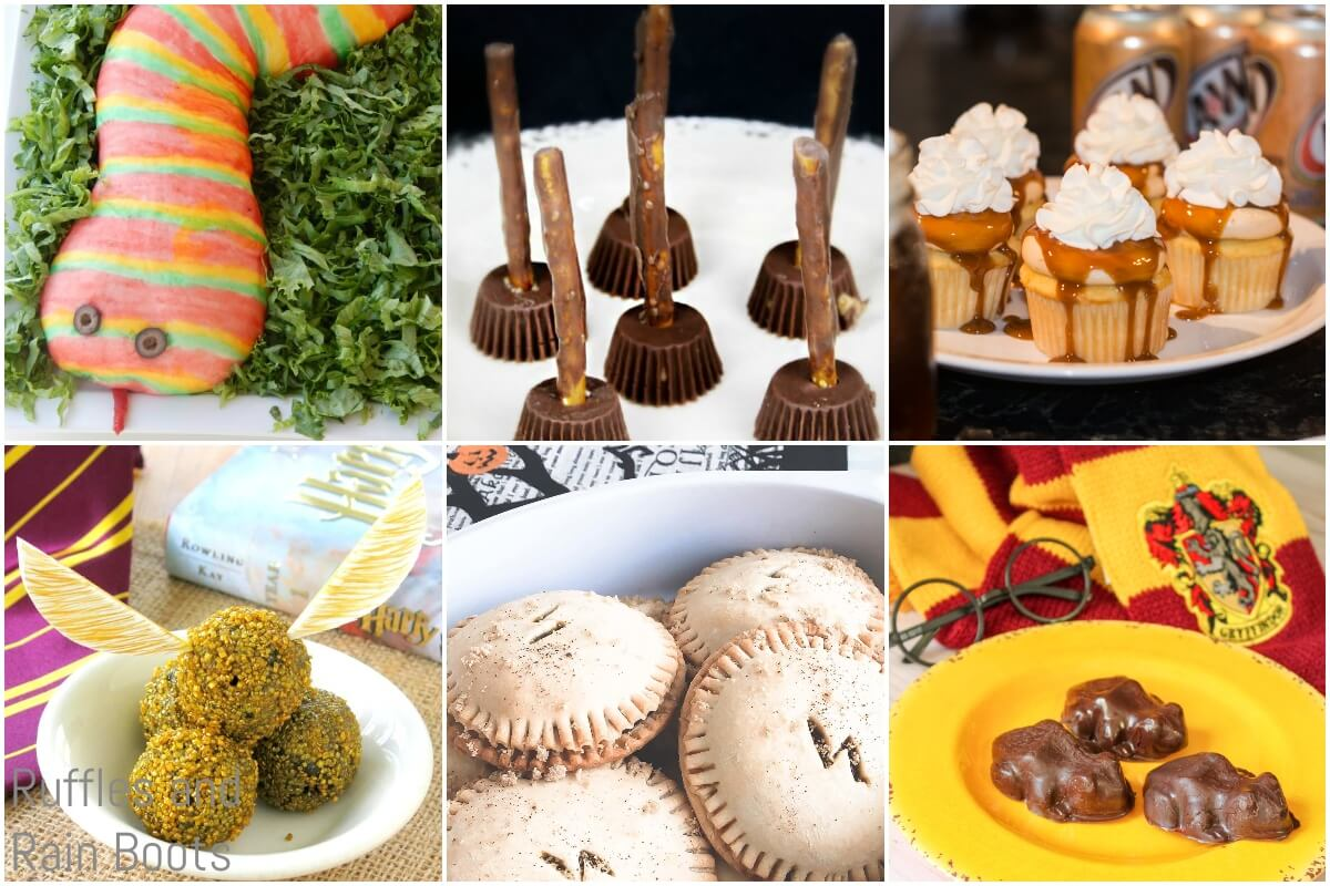 photo collage of harry potter halloween party recipes