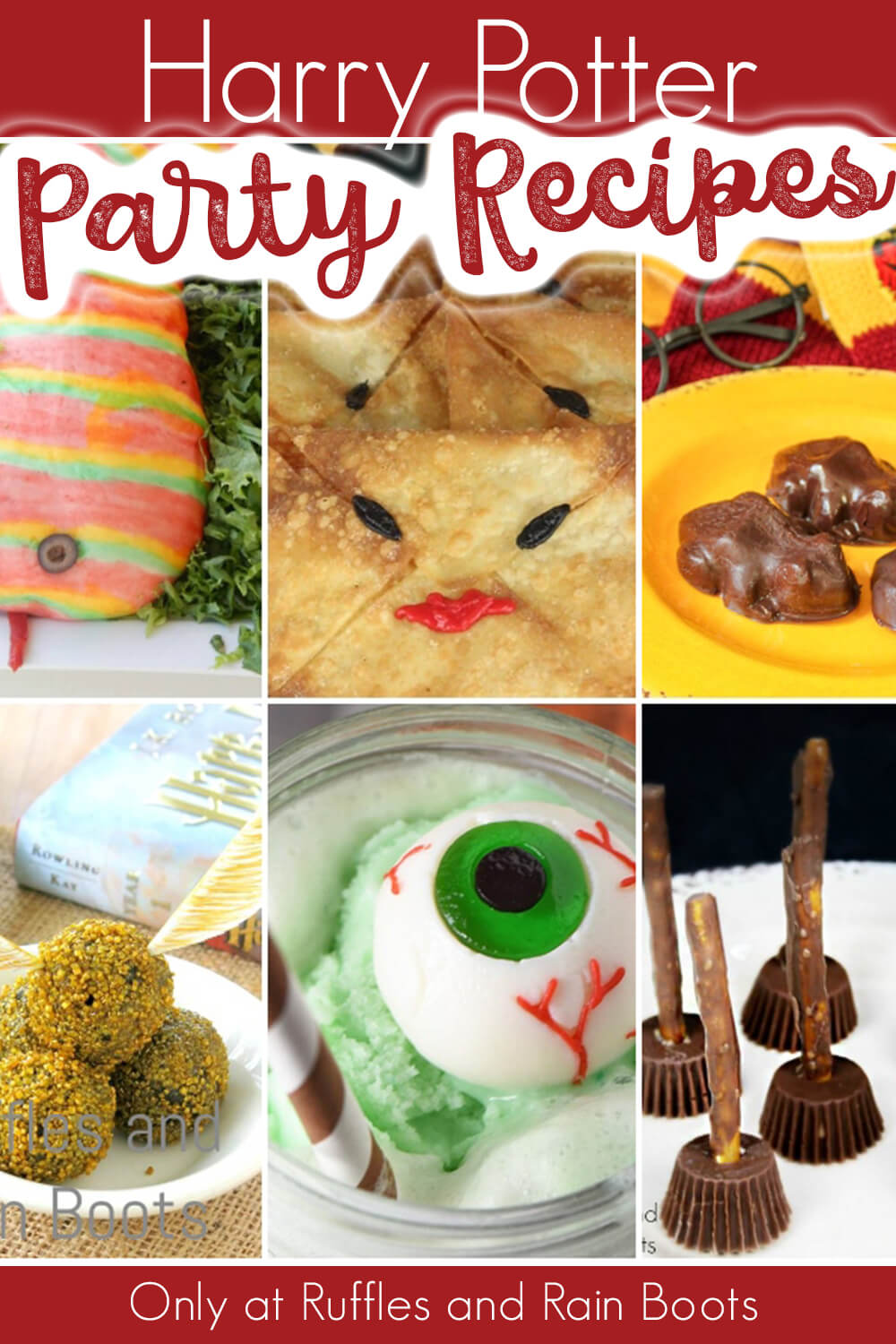 photo collage with text which reads harry potter party recipe ideas