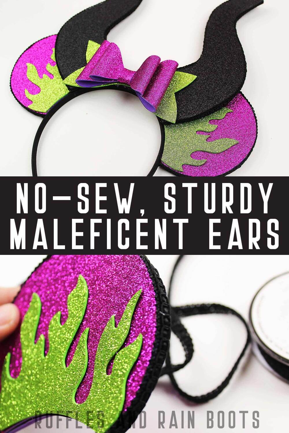 collage of foam Disney ears with text which reads no sew sturdy Maleficent ears