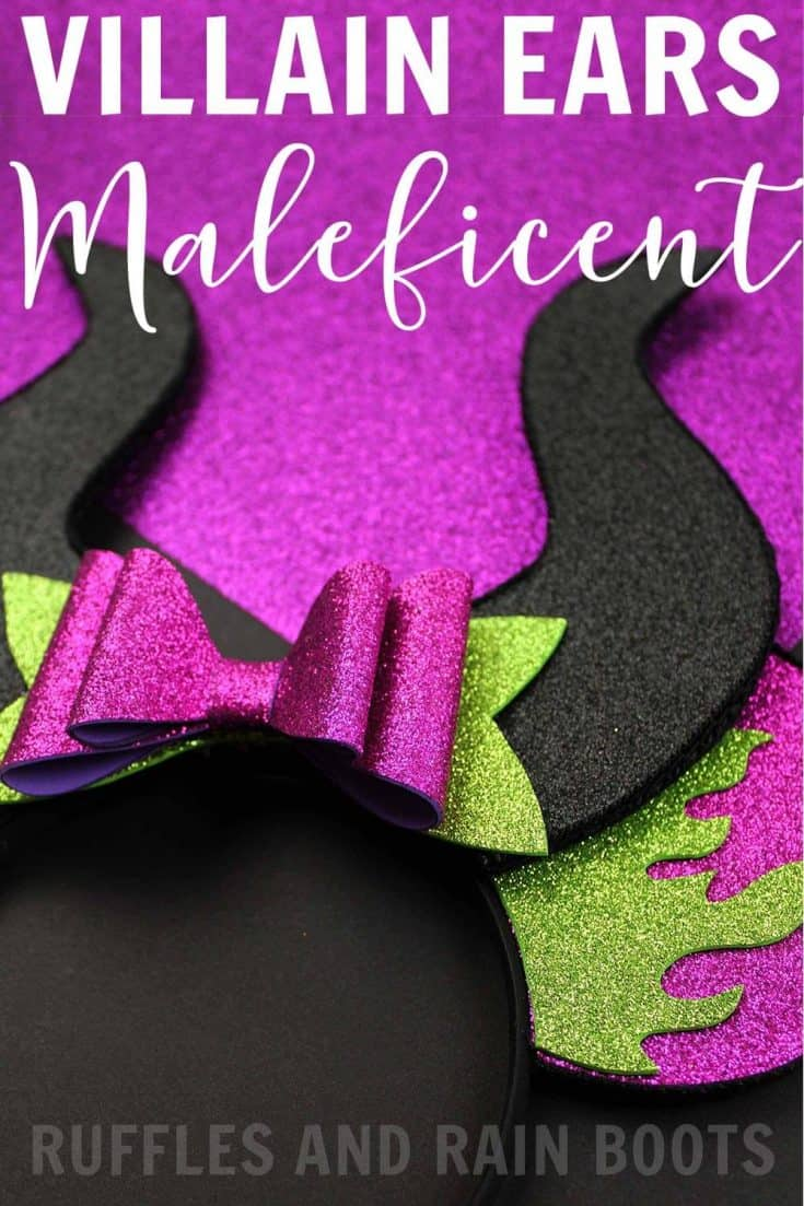 Everyone's favorite Disney villain is ready for her close up with these no-sew DIY Maleficent Minnie ears. You can make these with basic craft supplies, a hot glue gun, and our free, hand-drawn templates. Click through to see how easy they are. #maleficent  #disney #disneyvacation #minnieears #rufflesandrainboots