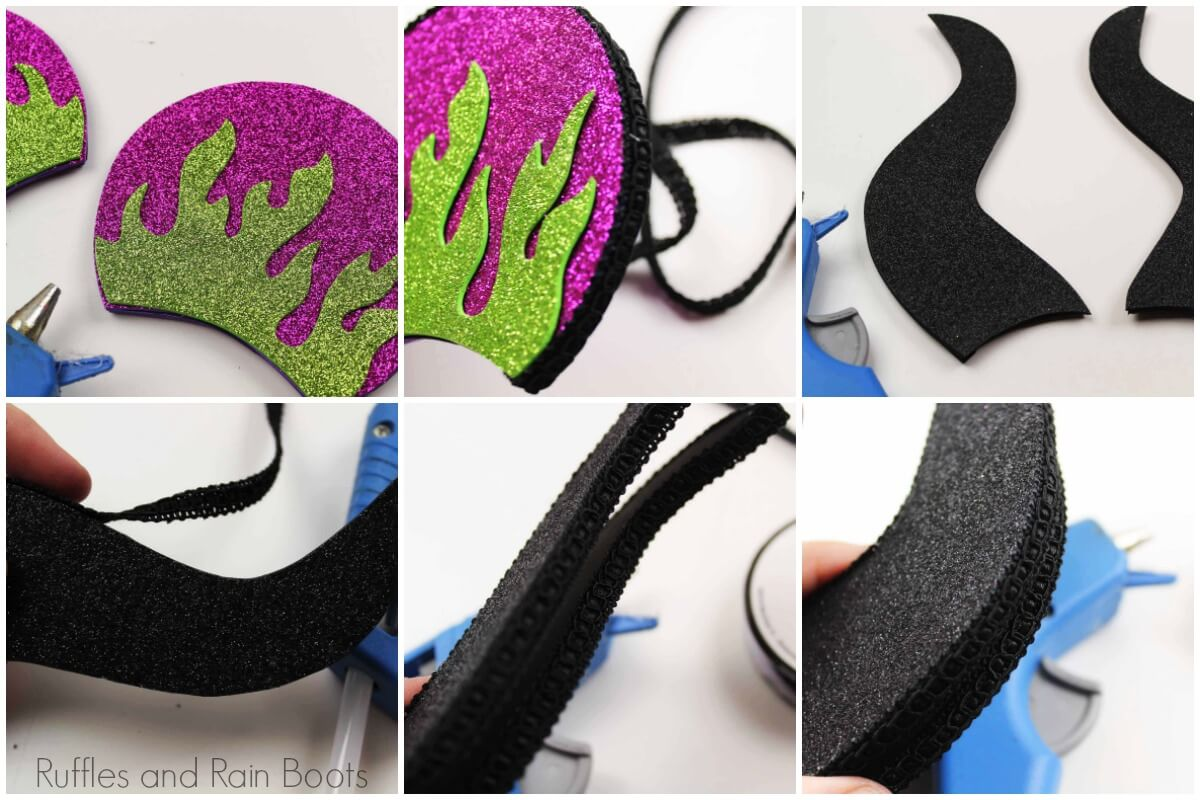 how to assemble the foam Maleficent ears with step by step instructions