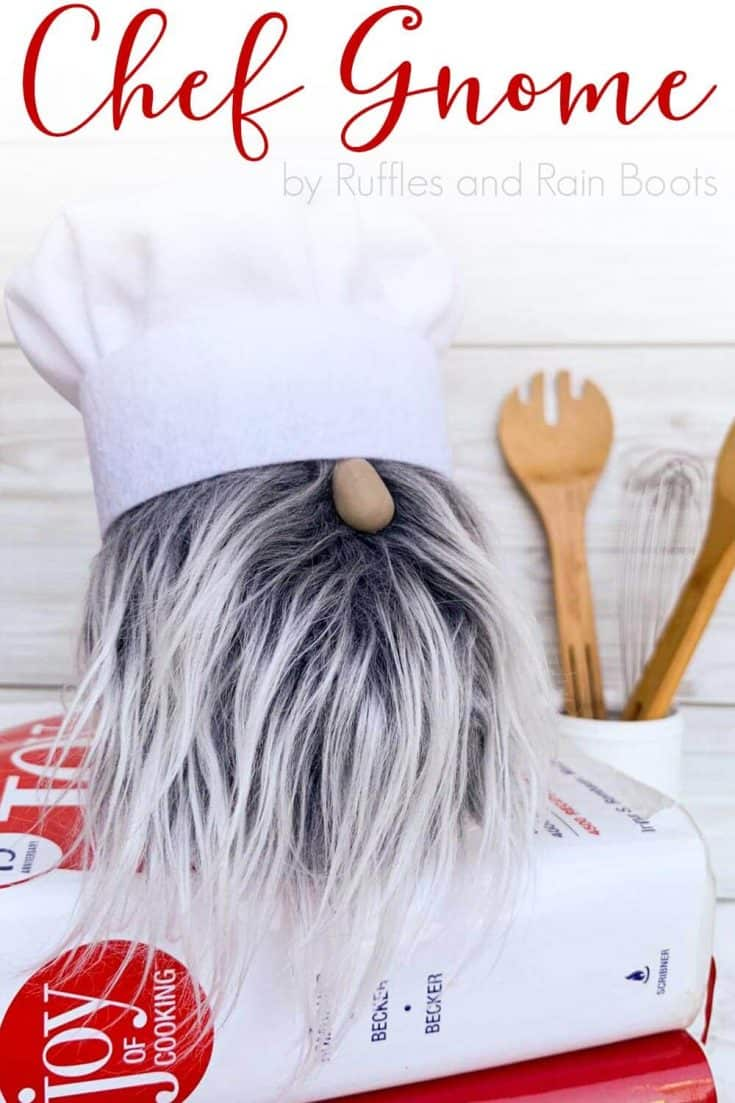 If you love gnomes, you're going to want to add this fun chef gnome to your kitchen or tiered tray display. Click through to our free tutorial - it's so easy and you're done in just 30 minutes. #sockgnomes #gnome #diygnome #chef #rufflesandrainboots